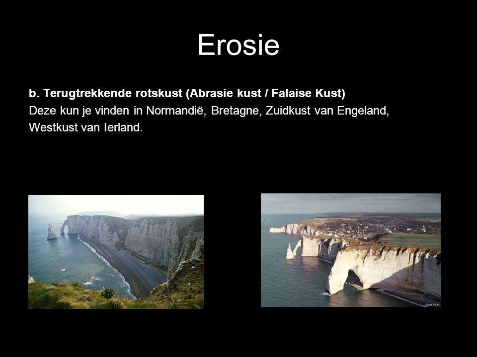 Erosie b. Terugtrekkende rotskust (Abrasie kust / Falaise Kust) Deze kun je vinden in Normandië, Bretagne, Zuidkust van Engeland, Westkust van Ierland
