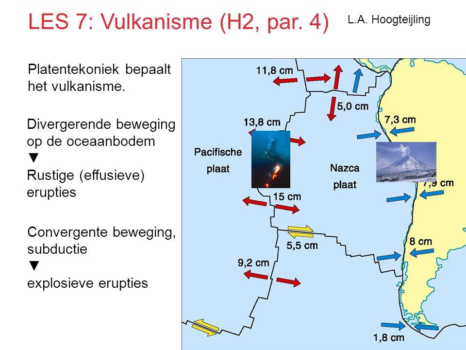 Platentekoniek bepaalt het vulkanisme. Divergerende beweging op de oceaanbodem ▼ Rustige (effusieve) erupties Convergente beweging, subductie ▼ explos
