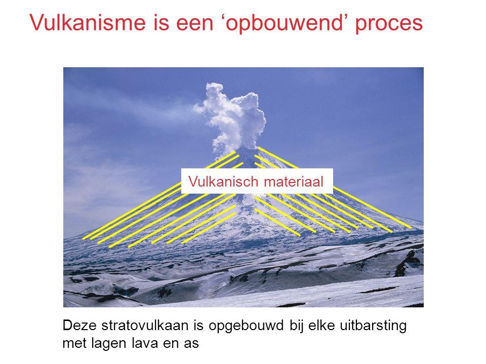 Deze stratovulkaan is opgebouwd bij elke uitbarsting met lagen lava en as Vulkanisch materiaal Vulkanisme is een 'opbouwend' proces