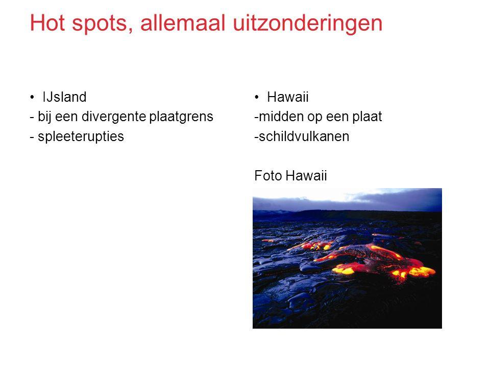 IJsland - bij een divergente plaatgrens - spleeterupties Hawaii -midden op een plaat -schildvulkanen Foto Hawaii Hot spots, allemaal uitzonderingen