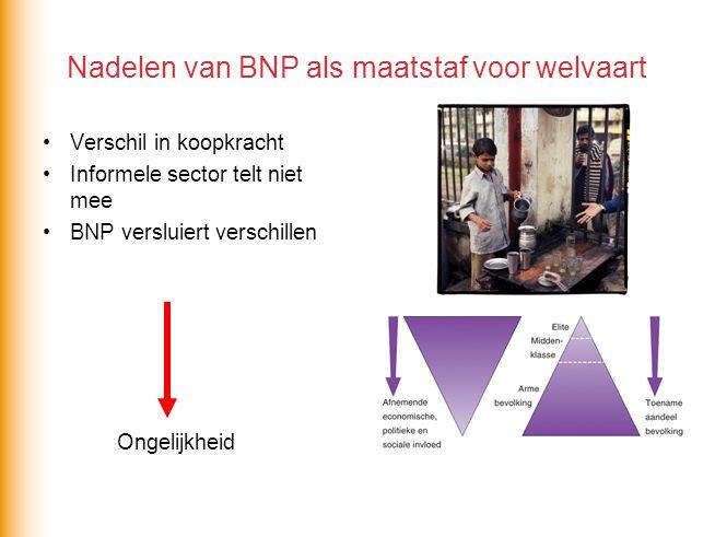 Nadelen van BNP als maatstaf voor welvaart Verschil in koopkracht Informele sector telt niet mee BNP versluiert verschillen Ongelijkheid