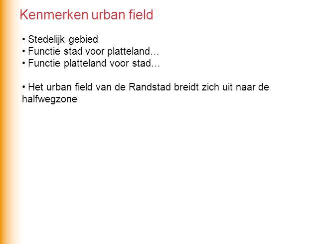 Stedelijk gebied Functie stad voor platteland… Functie platteland voor stad… Het urban field van de Randstad breidt zich uit naar de halfwegzone Kenmerken urban field