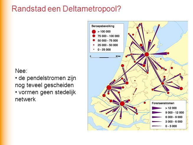 Nee: de pendelstromen zijn nog teveel gescheiden vormen geen stedelijk netwerk Randstad een Deltametropool?