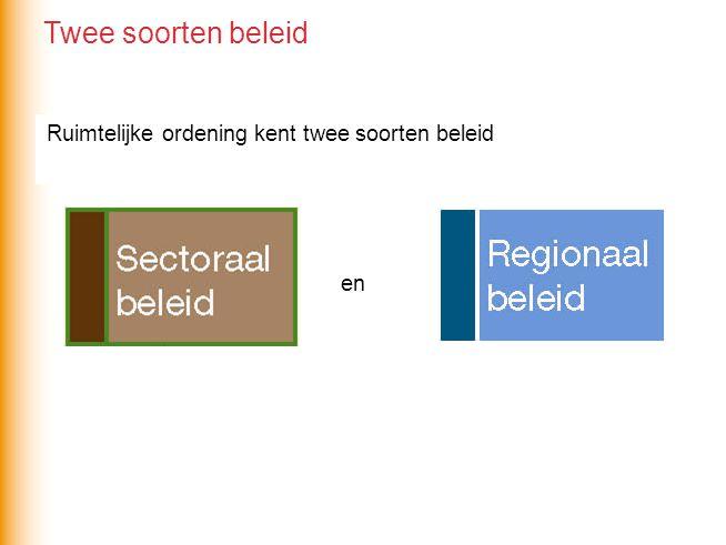 Ruimtelijke ordening kent twee soorten beleid en Twee soorten beleid