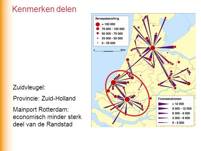 Zuidvleugel: Provincie: Zuid-Holland Mainport Rotterdam: economisch minder sterk deel van de Randstad Kenmerken delen