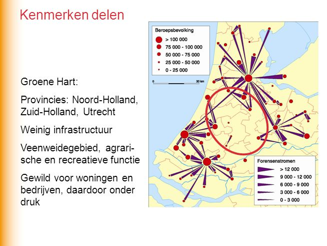 Groene Hart: Provincies: Noord-Holland, Zuid-Holland, Utrecht Weinig infrastructuur Veenweidegebied, agrari- sche en recreatieve functie Gewild voor woningen en bedrijven, daardoor onder druk Kenmerken delen