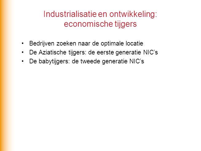 Industrialisatie en ontwikkeling: economische tijgers Bedrijven zoeken naar de optimale locatie De Aziatische tijgers: de eerste generatie NIC's De ba