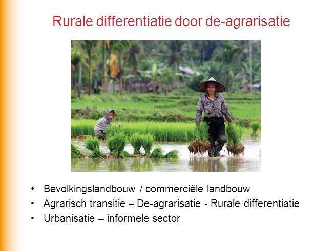 Rurale differentiatie door de-agrarisatie Bevolkingslandbouw / commerciële landbouw Agrarisch transitie – De-agrarisatie - Rurale differentiatie Urban
