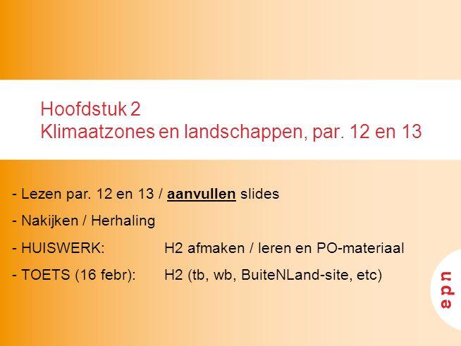 Hoofdstuk 2 Klimaatzones en landschappen, par.12 en 13 - Lezen par.