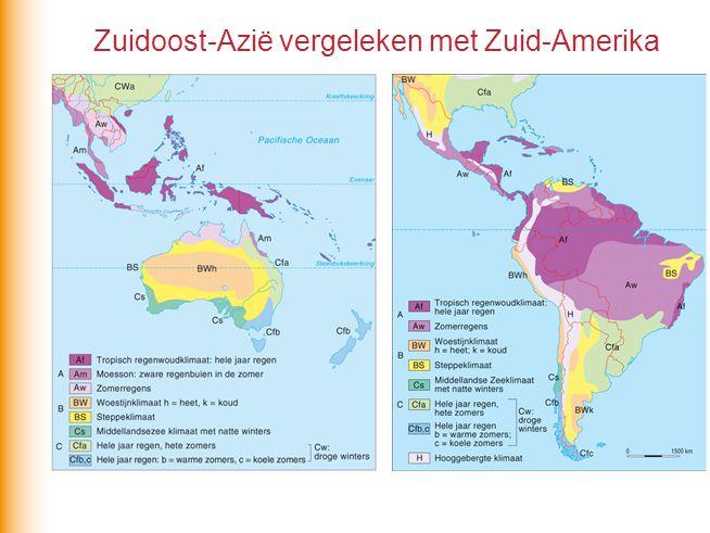 Zuidoost-Azië vergeleken met Zuid-Amerika