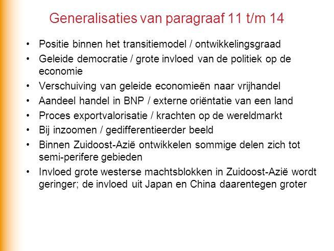 Generalisaties van paragraaf 11 t/m 14 Positie binnen het transitiemodel / ontwikkelingsgraad Geleide democratie / grote invloed van de politiek op de