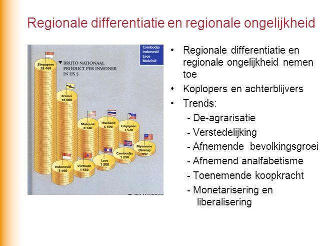Regionale differentiatie en regionale ongelijkheid Regionale differentiatie en regionale ongelijkheid nemen toe Koplopers en achterblijvers Trends: -