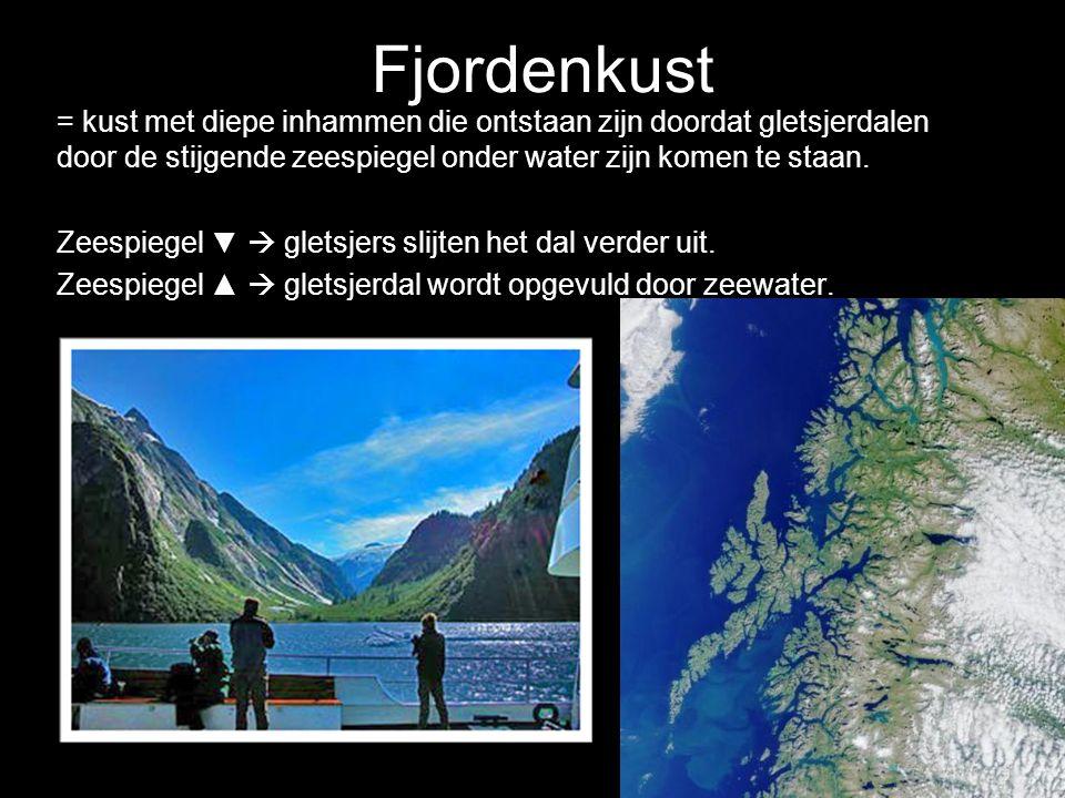 = kust met diepe inhammen die ontstaan zijn doordat gletsjerdalen door de stijgende zeespiegel onder water zijn komen te staan. Zeespiegel ▼  gletsje