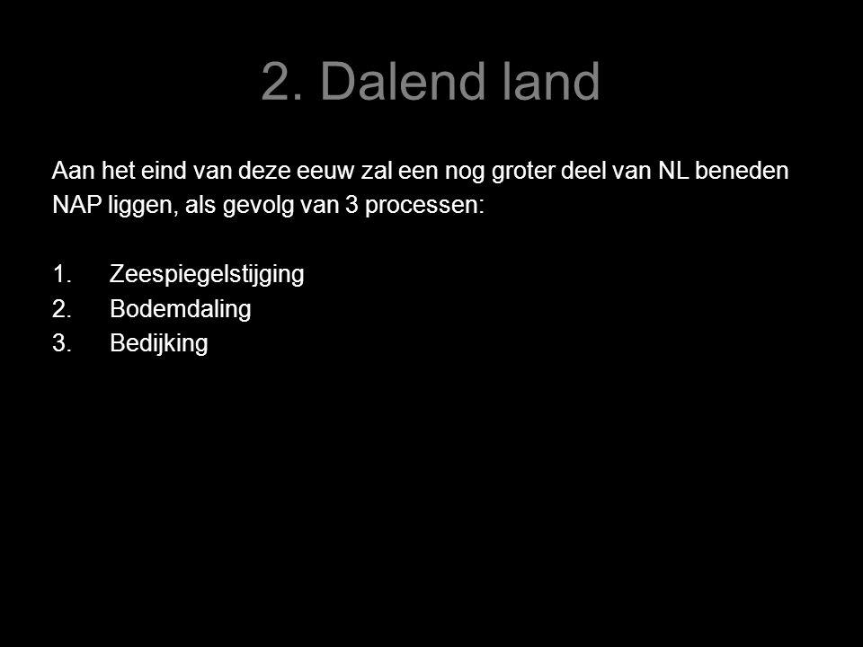 2. Dalend land Aan het eind van deze eeuw zal een nog groter deel van NL beneden NAP liggen, als gevolg van 3 processen: 1.Zeespiegelstijging 2.Bodemd