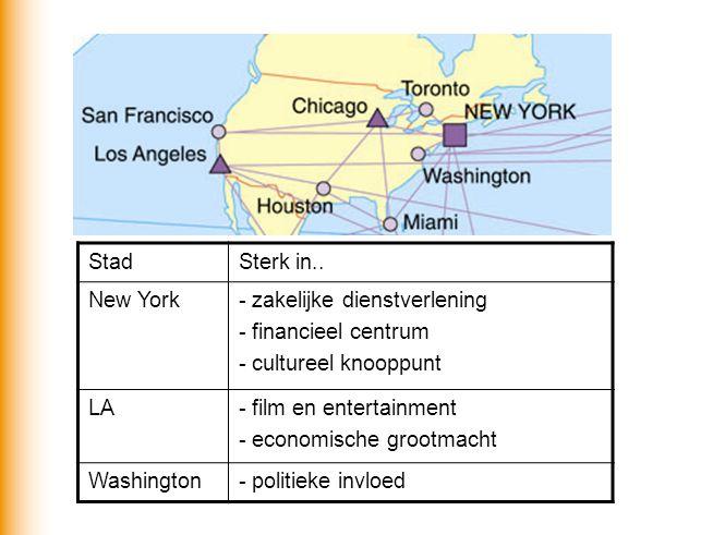 StadSterk in.. New York- zakelijke dienstverlening - financieel centrum - cultureel knooppunt LA- film en entertainment - economische grootmacht Washi