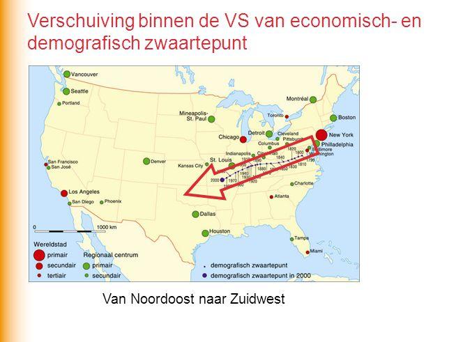 Van Noordoost naar Zuidwest Verschuiving binnen de VS van economisch- en demografisch zwaartepunt