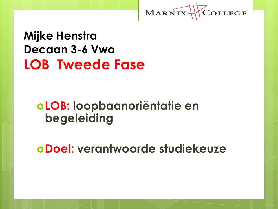 Mijke Henstra Decaan 3-6 Vwo LOB Tweede Fase  LOB: loopbaanoriëntatie en begeleiding  Doel: verantwoorde studiekeuze