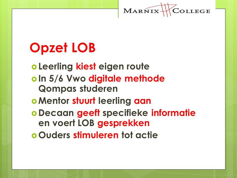 Opzet LOB  Leerling kiest eigen route  In 5/6 Vwo digitale methode Qompas studeren  Mentor stuurt leerling aan  Decaan geeft specifieke informatie