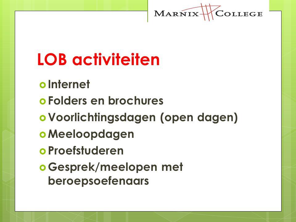 LOB activiteiten  Internet  Folders en brochures  Voorlichtingsdagen (open dagen)  Meeloopdagen  Proefstuderen  Gesprek/meelopen met beroepsoefe