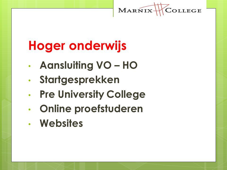 Hoger onderwijs Aansluiting VO – HO Startgesprekken Pre University College Online proefstuderen Websites