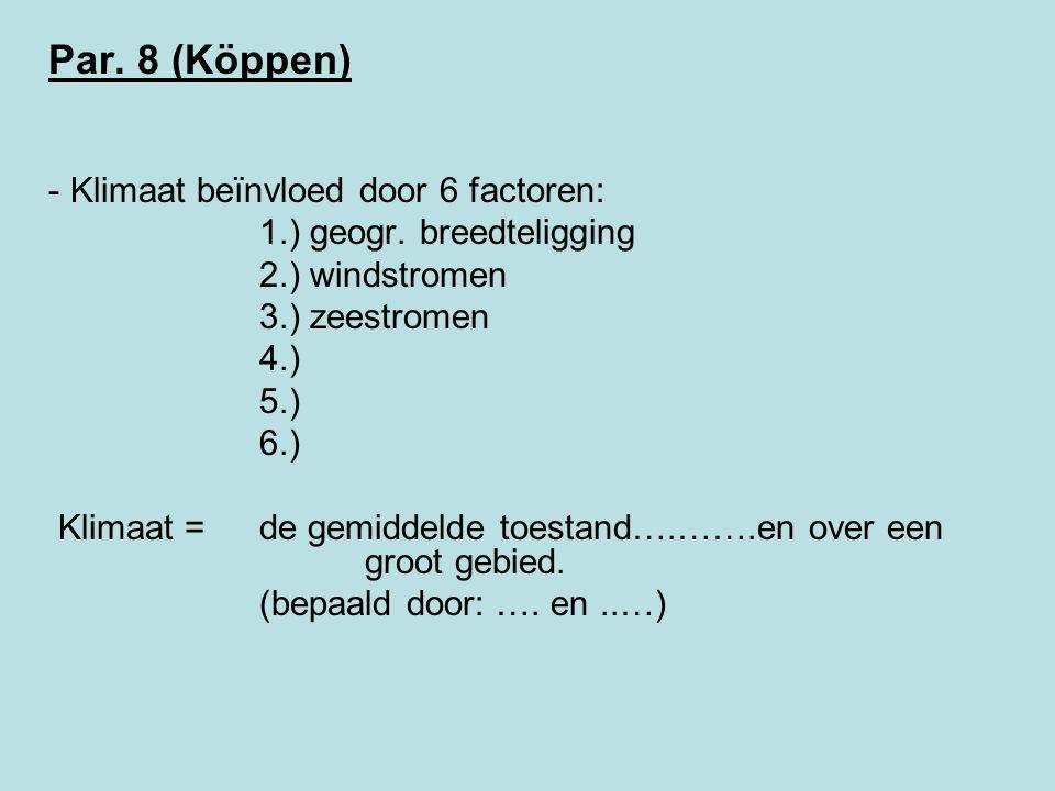 Par.8 (Köppen) - Klimaat beïnvloed door 6 factoren: 1.) geogr.