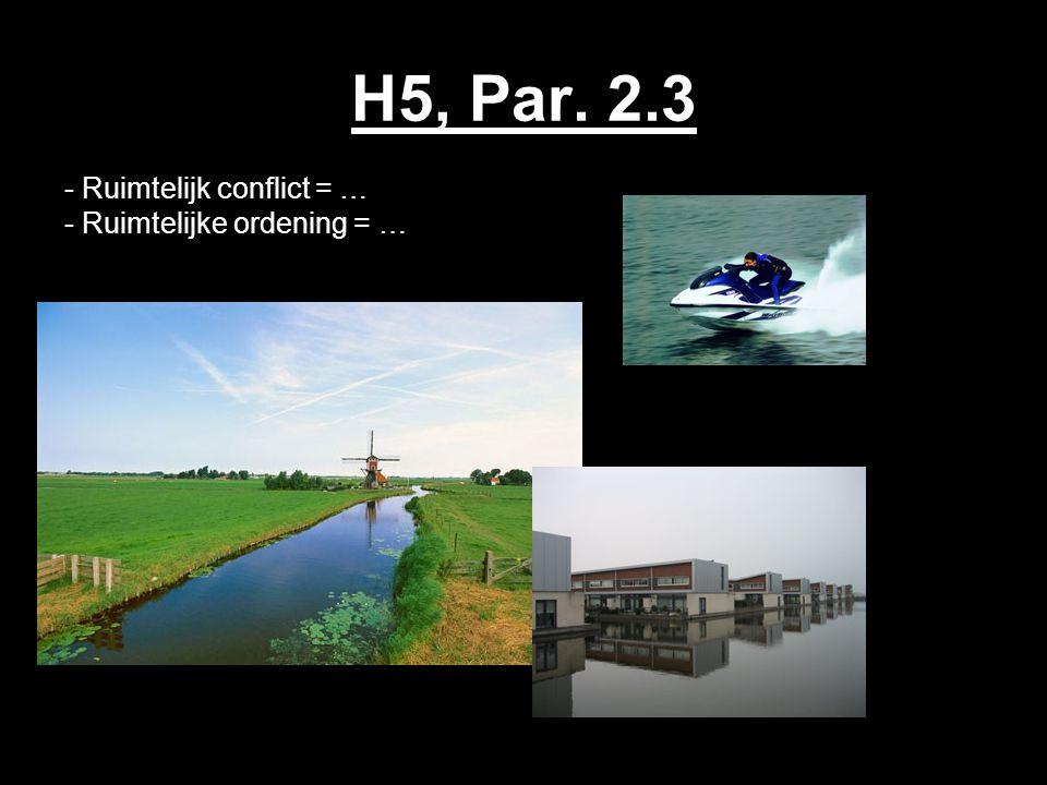 H5, Par. 2.3 - Ruimtelijk conflict = … - Ruimtelijke ordening = …