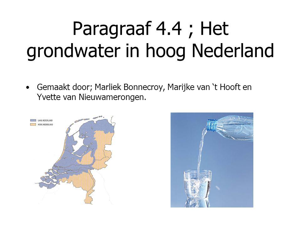 Paragraaf 4.4 ; Het grondwater in hoog Nederland Gemaakt door; Marliek Bonnecroy, Marijke van 't Hooft en Yvette van Nieuwamerongen.