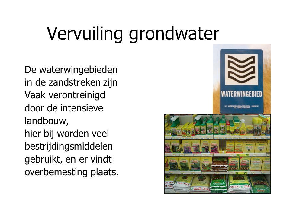 Vervuiling grondwater De waterwingebieden in de zandstreken zijn Vaak verontreinigd door de intensieve landbouw, hier bij worden veel bestrijdingsmidd