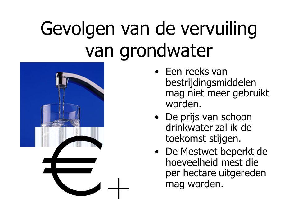 Gevolgen van de vervuiling van grondwater Een reeks van bestrijdingsmiddelen mag niet meer gebruikt worden. De prijs van schoon drinkwater zal ik de t