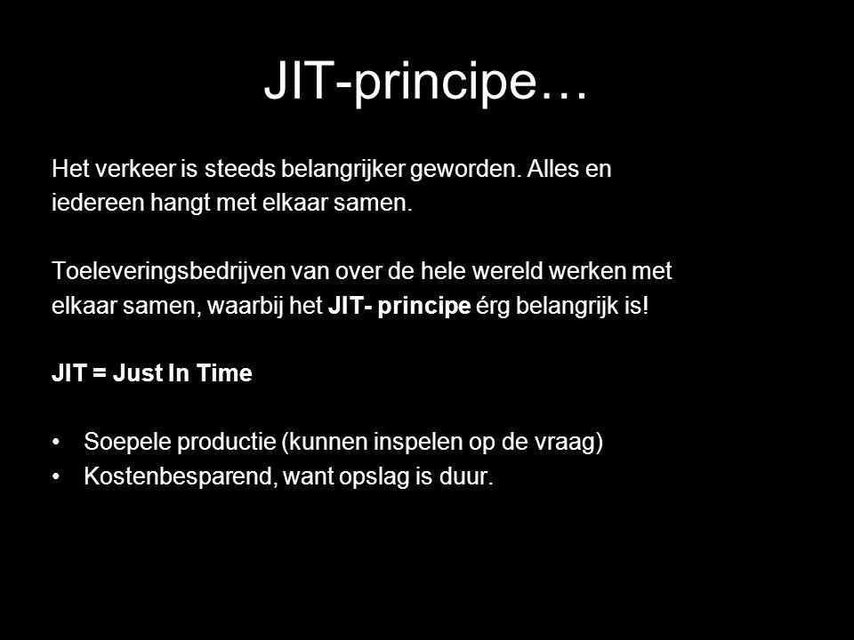 JIT-principe… Het verkeer is steeds belangrijker geworden. Alles en iedereen hangt met elkaar samen. Toeleveringsbedrijven van over de hele wereld wer