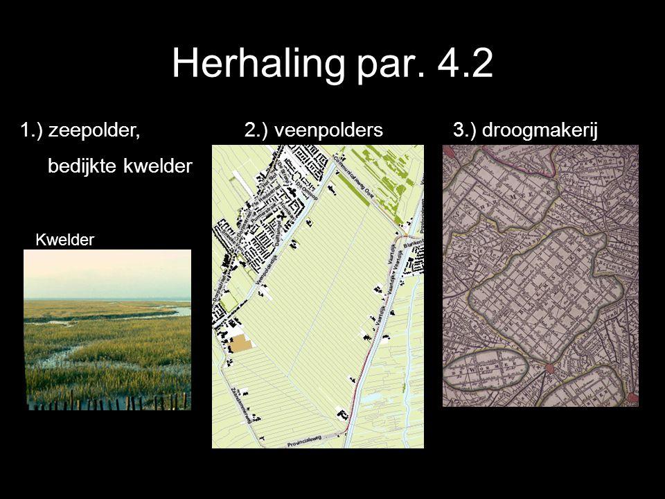Herhaling par. 4.2 1.) zeepolder, 2.) veenpolders 3.) droogmakerij bedijkte kwelder Kwelder