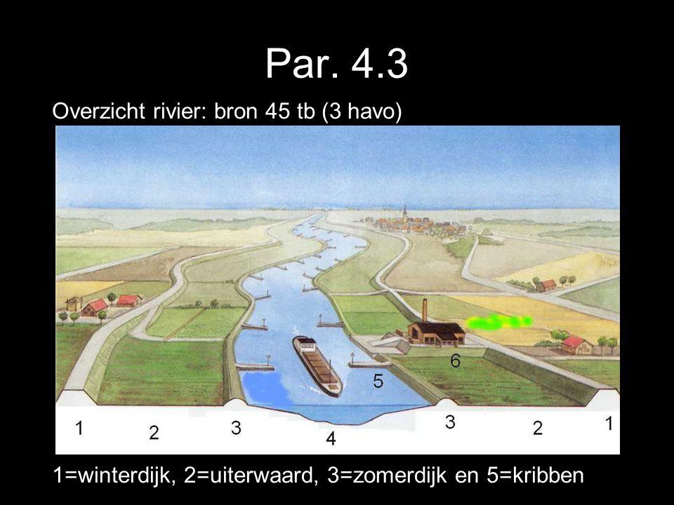 Par. 4.3 Overzicht rivier: bron 45 tb (3 havo) 1=winterdijk, 2=uiterwaard, 3=zomerdijk en 5=kribben