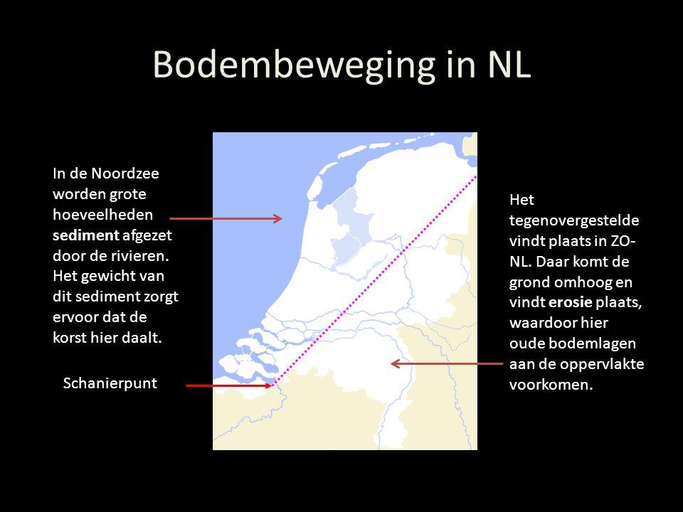 Bodembeweging in NL In de Noordzee worden grote hoeveelheden sediment afgezet door de rivieren. Het gewicht van dit sediment zorgt ervoor dat de korst
