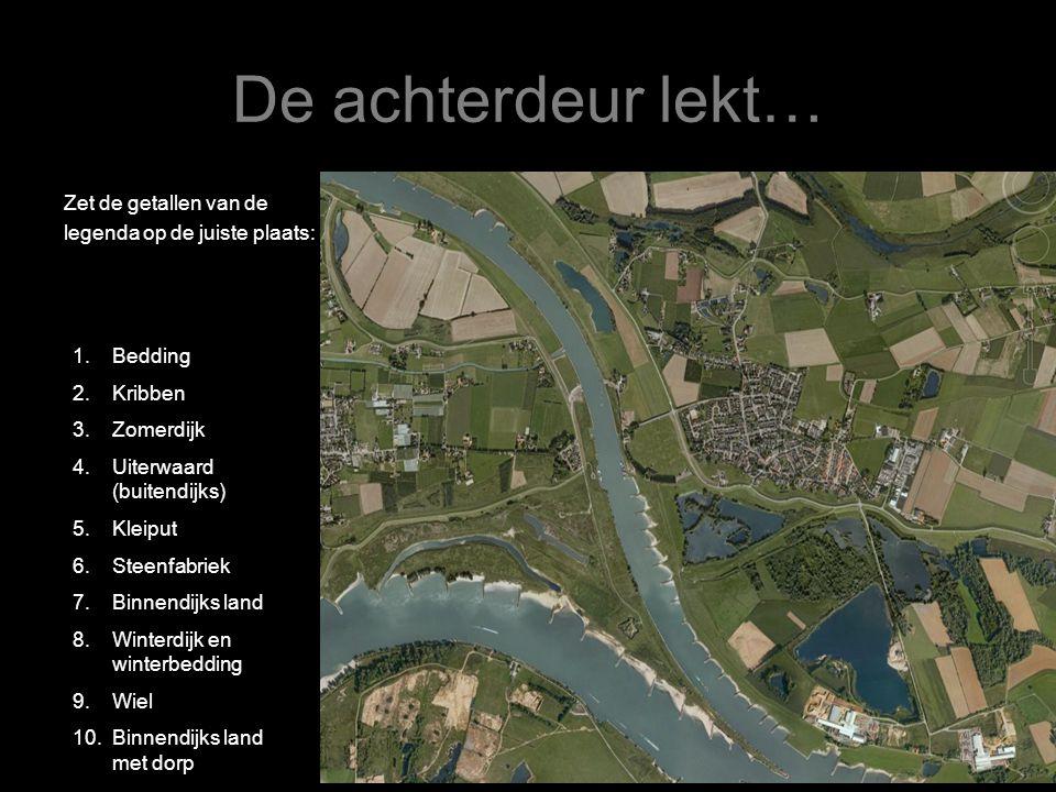 De achterdeur lekt… 2 redenen waarom de dreiging van rivieren de laatste jaren is toegenomen: 1.In het stroomgebied (het gebied dat afwatert op één rivier) hebben zich de afgelopen jaren grote veranderingen voorgedaan: - bochten werden afgesneden - dijken zijn verhoogd - een zo snel mogelijke afvoer van neerslag Gevolg: het bovenstroomse water komt veel sneller in de benedenloop terecht, dus steeds vaker een piekafvoer.