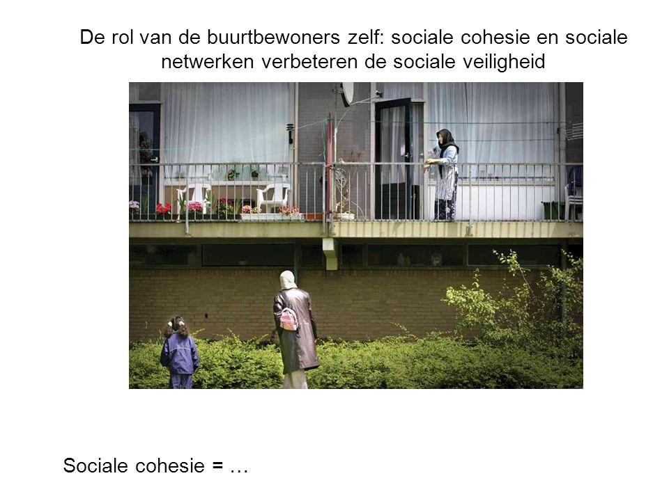 De rol van de buurtbewoners zelf: sociale cohesie en sociale netwerken verbeteren de sociale veiligheid Sociale cohesie = …