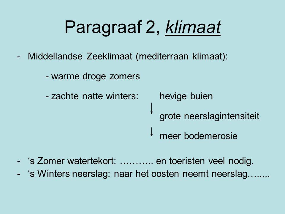 Paragraaf 2, klimaat -Middellandse Zeeklimaat (mediterraan klimaat): - warme droge zomers - zachte natte winters: hevige buien grote neerslagintensite