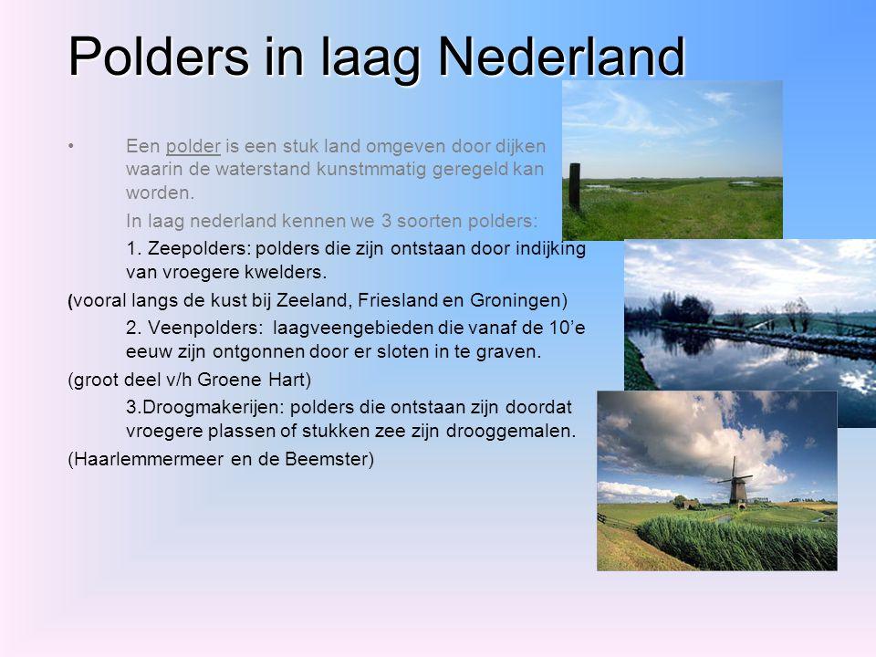 Polders in laag Nederland Een polder is een stuk land omgeven door dijken waarin de waterstand kunstmmatig geregeld kan worden. In laag nederland kenn