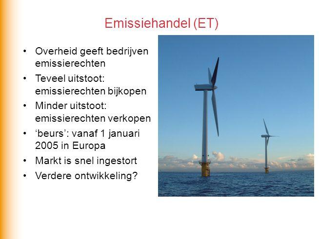 Overheid geeft bedrijven emissierechten Teveel uitstoot: emissierechten bijkopen Minder uitstoot: emissierechten verkopen 'beurs': vanaf 1 januari 2005 in Europa Markt is snel ingestort Verdere ontwikkeling.