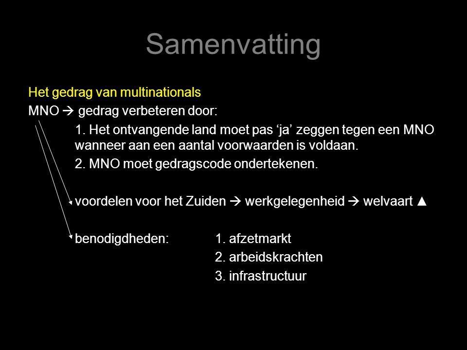 Samenvatting Het gedrag van multinationals MNO  gedrag verbeteren door: 1.