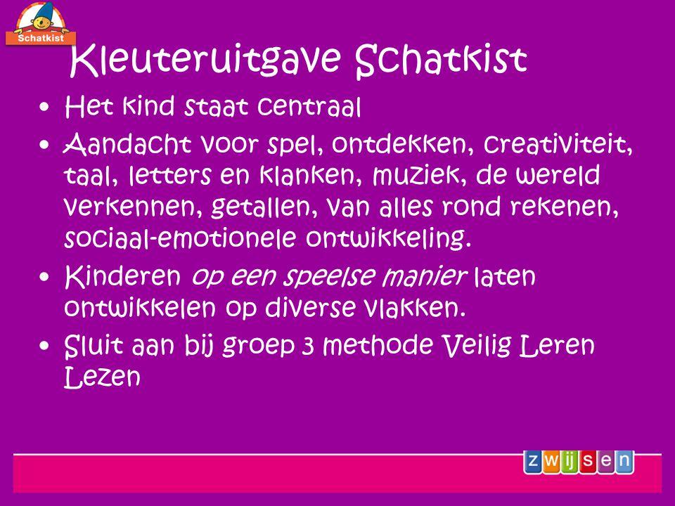 Kleuteruitgave Schatkist Het kind staat centraal Aandacht voor spel, ontdekken, creativiteit, taal, letters en klanken, muziek, de wereld verkennen, getallen, van alles rond rekenen, sociaal-emotionele ontwikkeling.