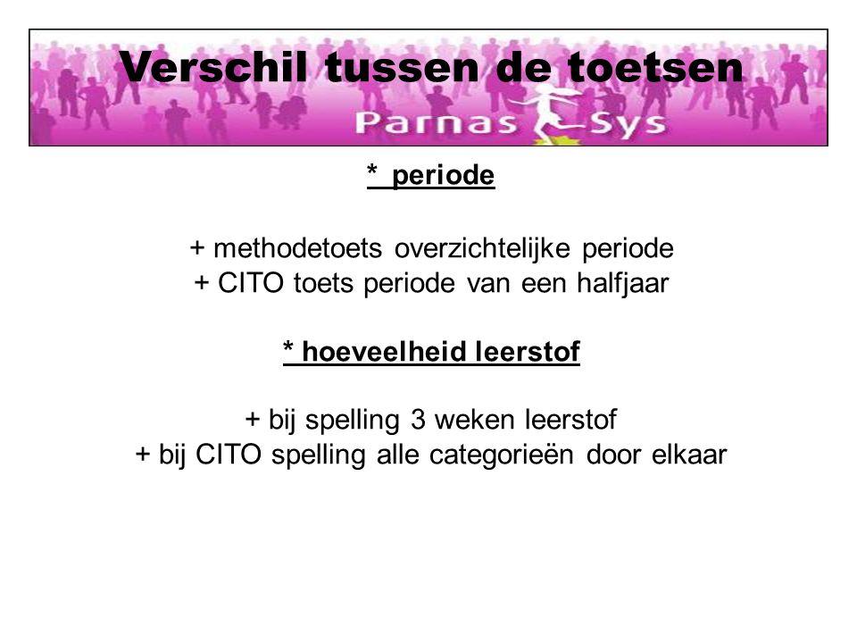 Verschil tussen de toetsen * periode + methodetoets overzichtelijke periode + CITO toets periode van een halfjaar * hoeveelheid leerstof + bij spellin