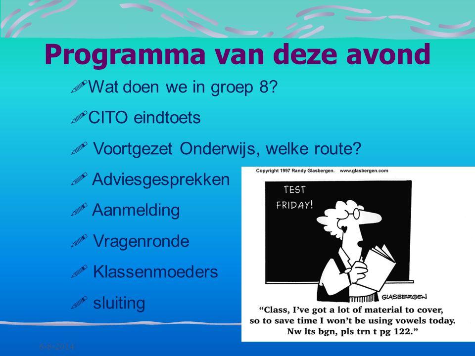 Informatie-avond groep 8 Willem de Zwijger 12 september 2013