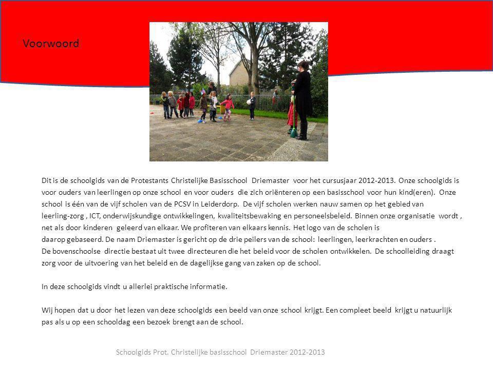 Dit is de schoolgids van de Protestants Christelijke Basisschool Driemaster voor het cursusjaar 2012-2013. Onze schoolgids is voor ouders van leerling
