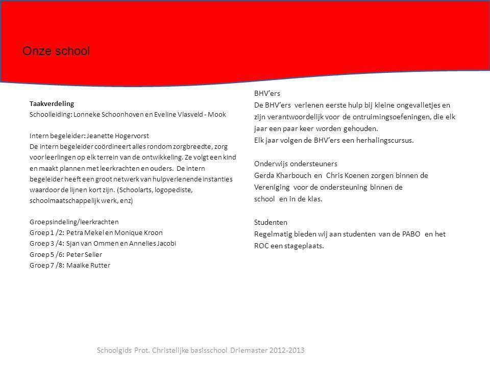 Taakverdeling Schoolleiding: Lonneke Schoonhoven en Eveline Vlasveld - Mook Intern begeleider: Jeanette Hogervorst De intern begeleider coördineert al