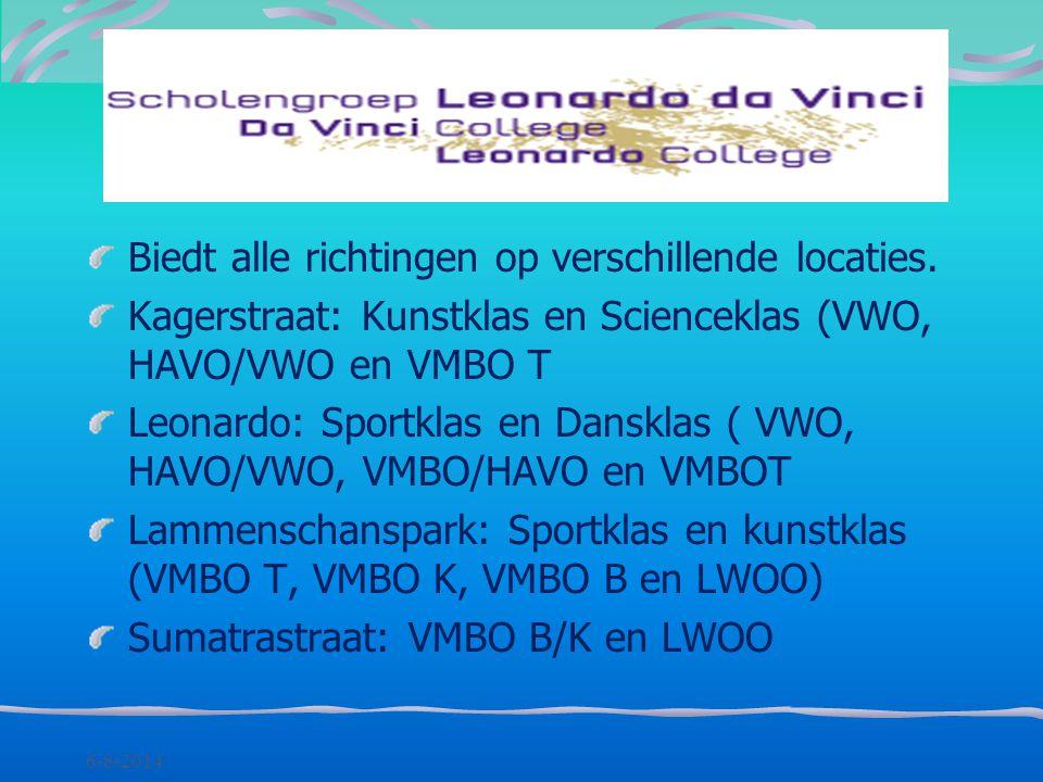 6-8-2014 Biedt alle richtingen, op verschillende locaties: Burggravenlaan (vmbo-t, havo, vwo- gym) Boerhaavelaan (vmbo, plusklas, lwoo) Mariënpoelstra