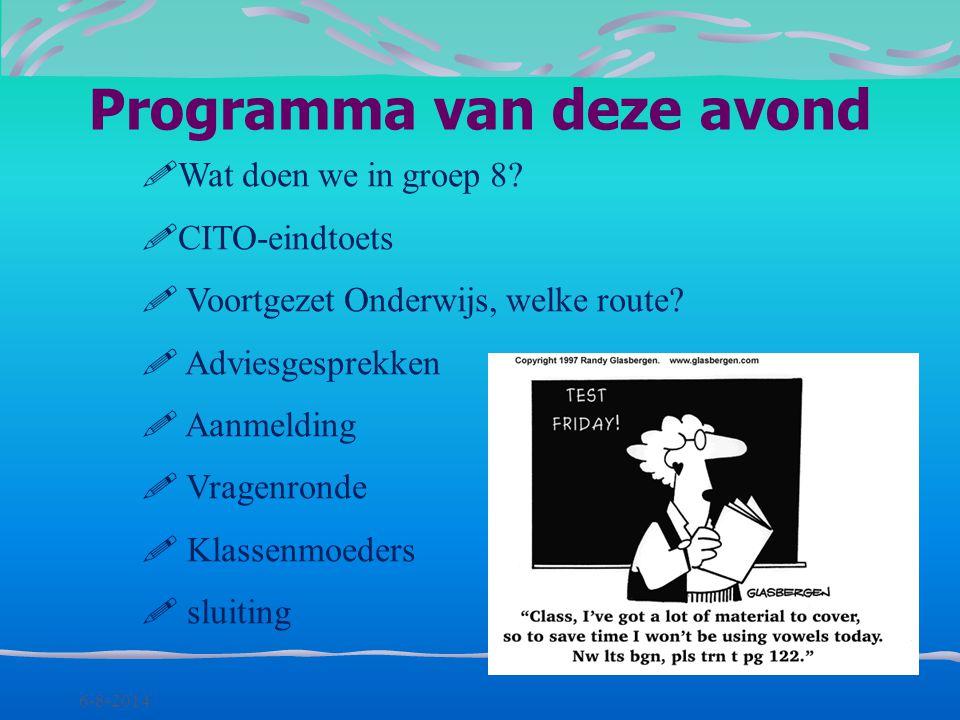 Informatie-avond groep 8 Willem de Zwijger 8 september 2010