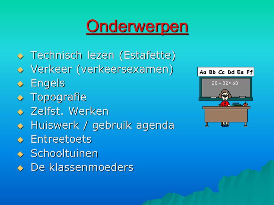 Onderwerpen  Technisch lezen (Estafette)  Verkeer (verkeersexamen)  Engels  Topografie  Zelfst.