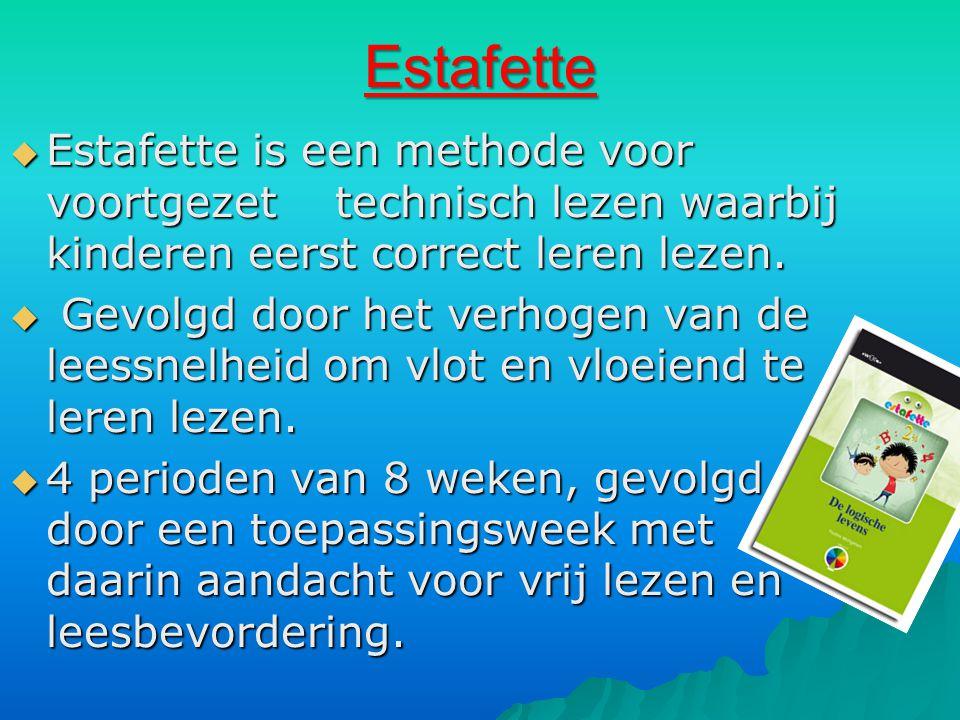 Estafette  Estafette is een methode voor voortgezet technisch lezen waarbij kinderen eerst correct leren lezen.