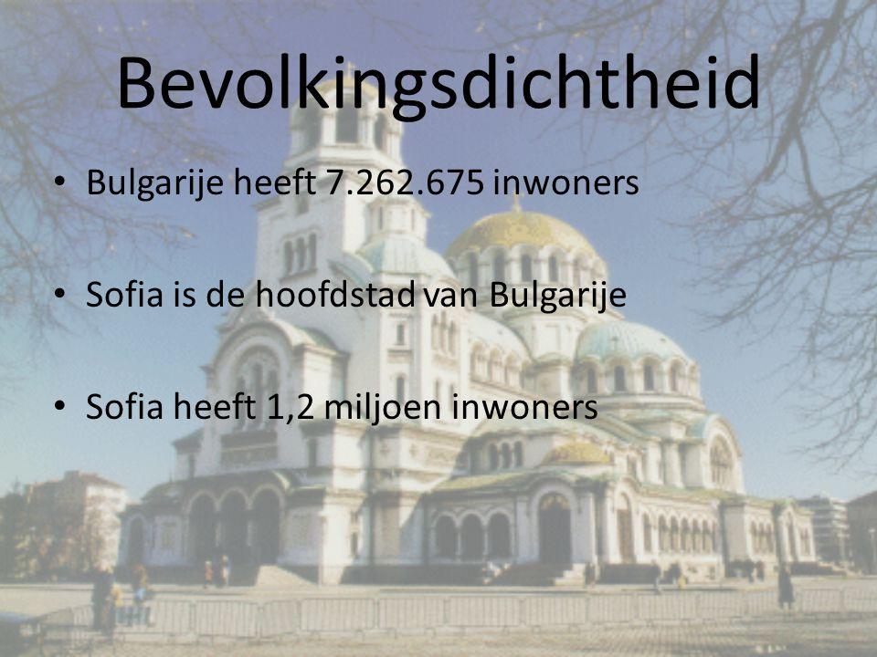 Bevolkingsdichtheid Bulgarije heeft 7.262.675 inwoners Sofia is de hoofdstad van Bulgarije Sofia heeft 1,2 miljoen inwoners