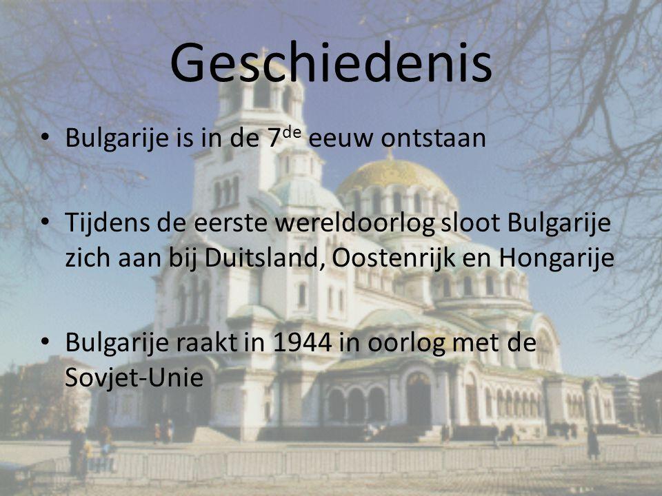 Geschiedenis Bulgarije is in de 7 de eeuw ontstaan Tijdens de eerste wereldoorlog sloot Bulgarije zich aan bij Duitsland, Oostenrijk en Hongarije Bulgarije raakt in 1944 in oorlog met de Sovjet-Unie